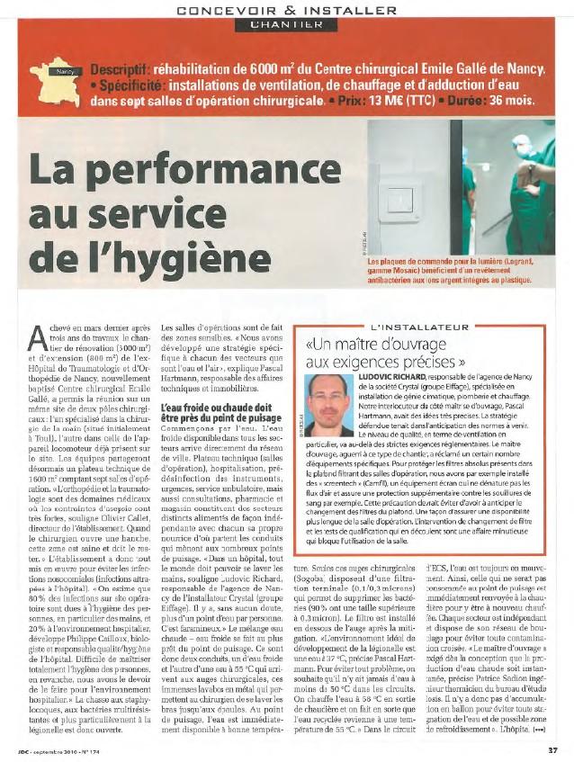 Journal du chauffage septembre 2010.jpg   La performance au service de l'hygiène : chantier du centre chirirgical Emile Gallé à Nancy
